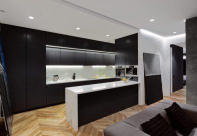 Дизайн кухни в черном цвете