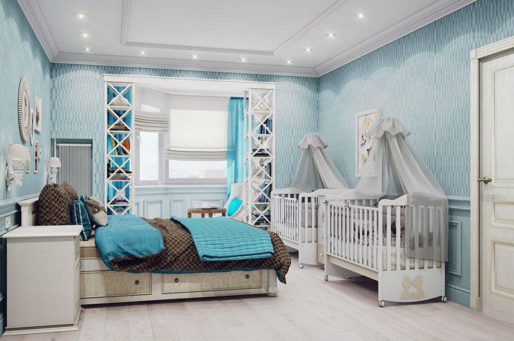 Дизайн спальни с детской кроваткой