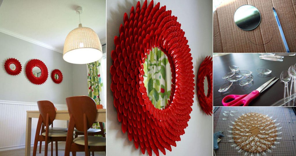 Декор зеркала пластиковыми ложками