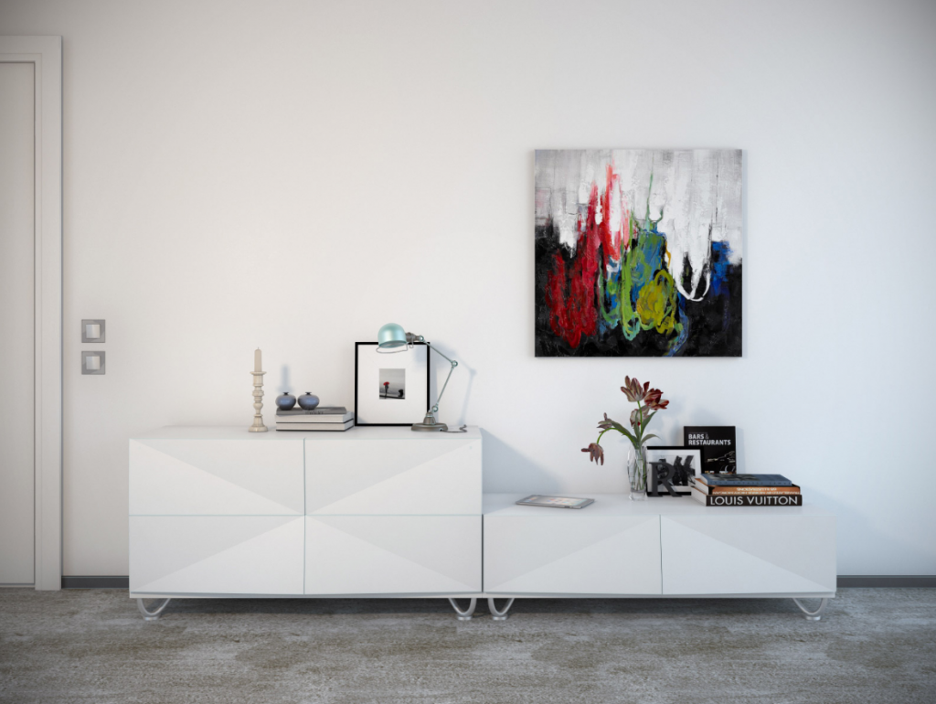 Картина с абстракцией в качестве декора стены