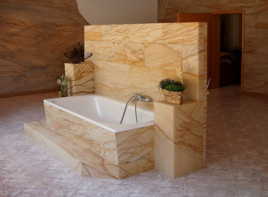 Отделка ванны гибким камнем