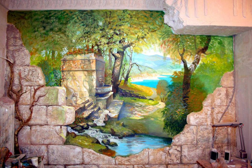 Живопись акриловыми красками на стене