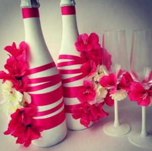 Идея оформления шампанского на свадьбу