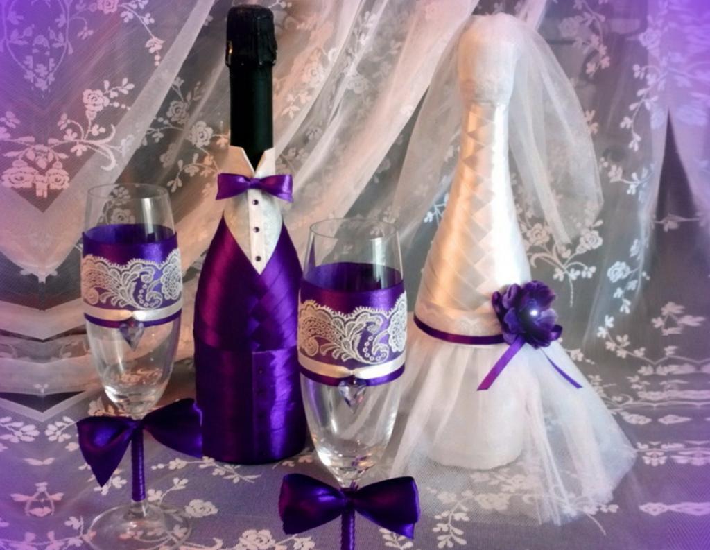 Декор бутылки и бокалов на свадьбу