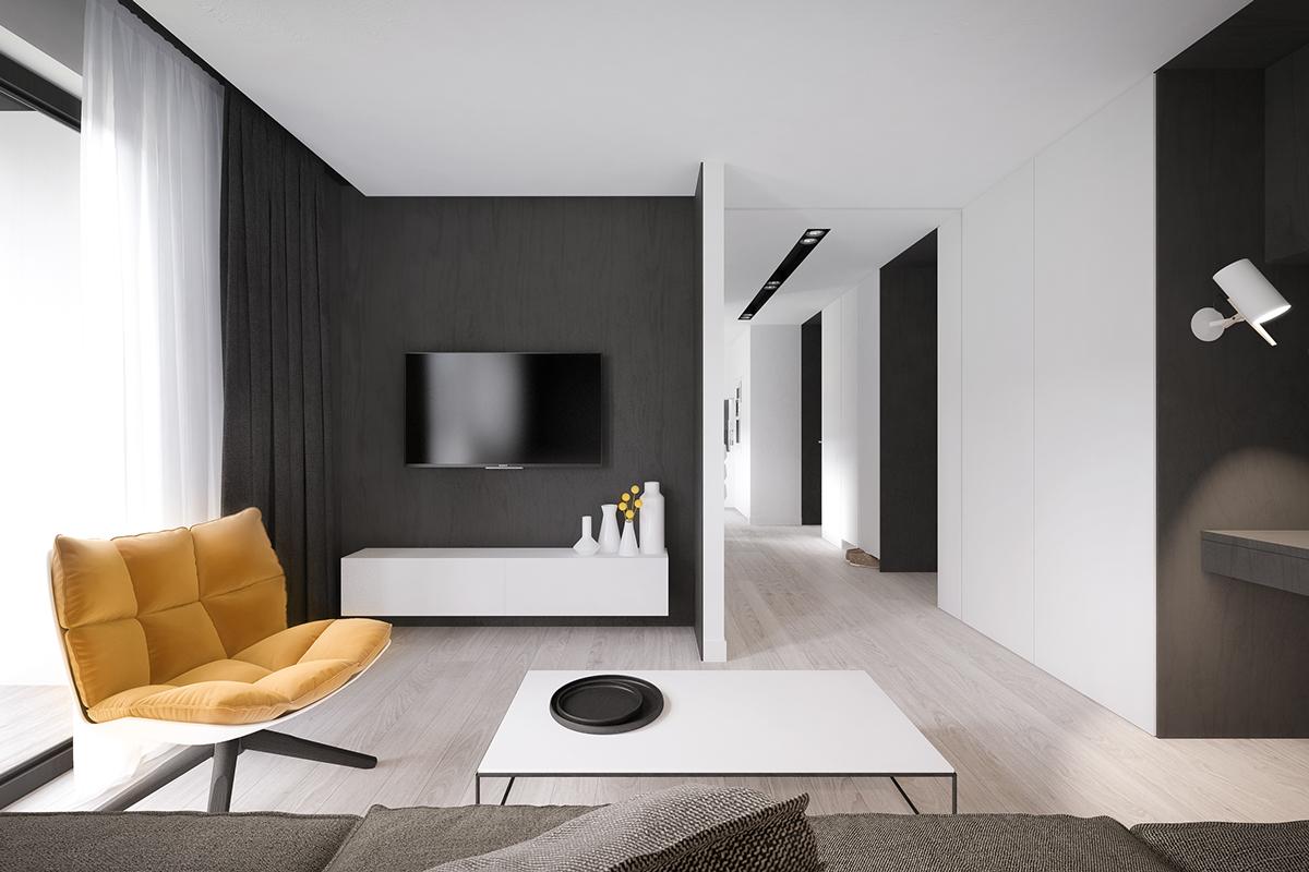Оригинальный интерьер в черно-белых цветах