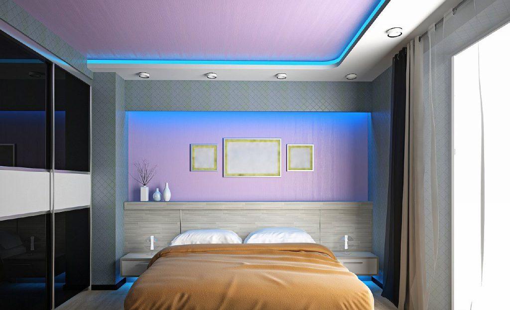 светодиодная подсветка натяжного потолка в спальне