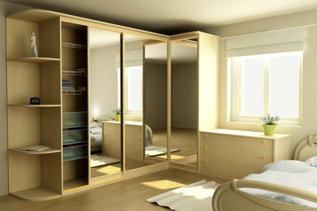 Угловой гардеробный шкаф в спальне