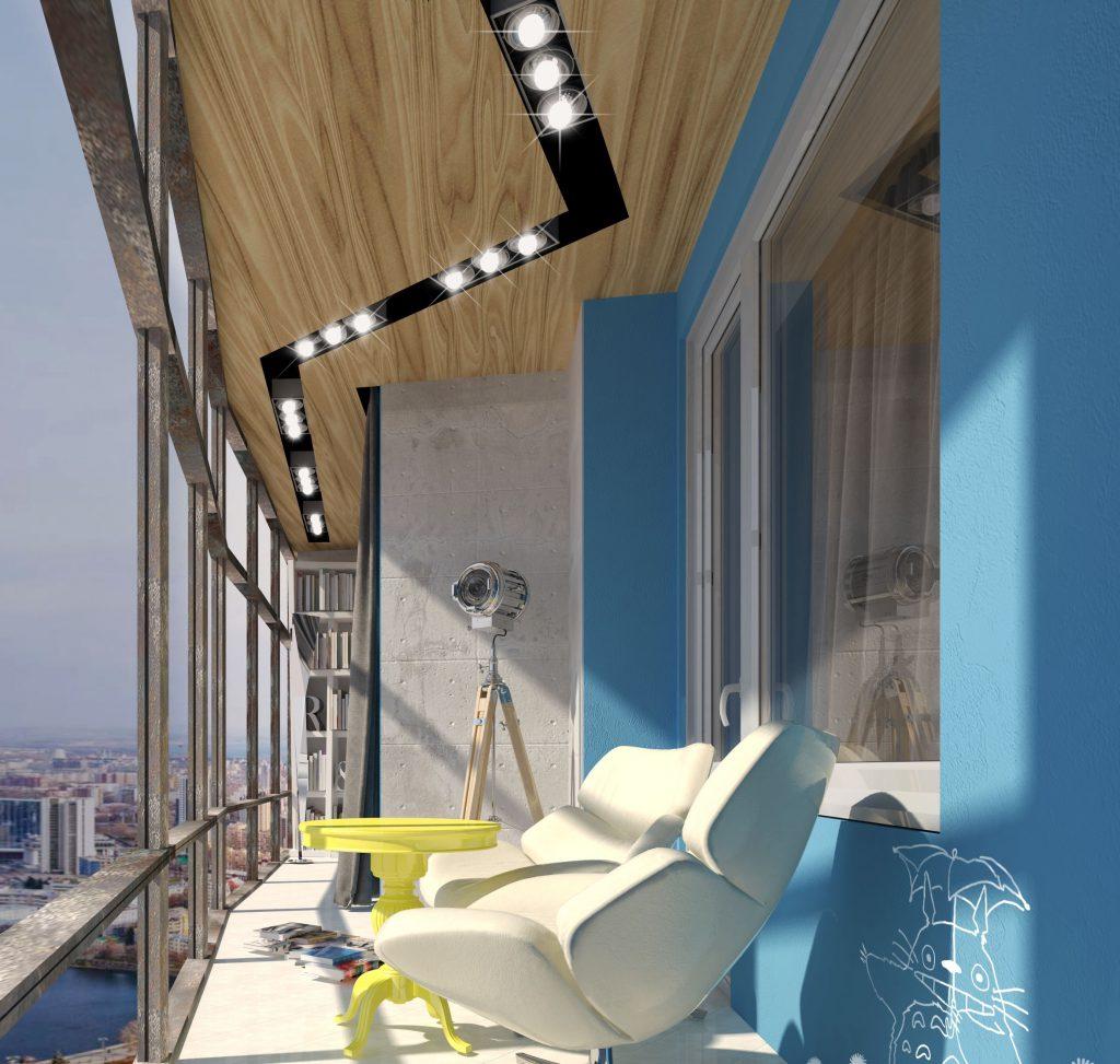 Нестандартное освещение на балконе