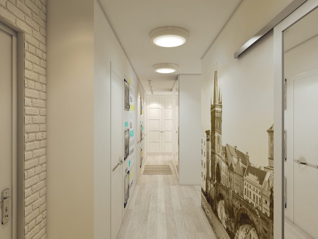 Потолочные светильники в коридоре