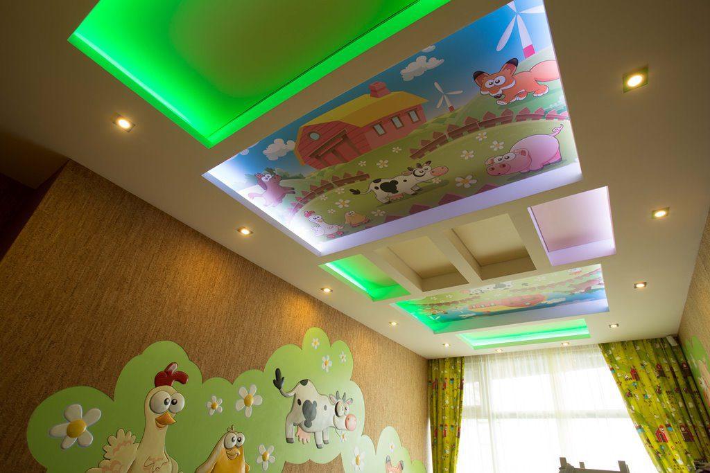 Светодиодная подсветка потолка в детской