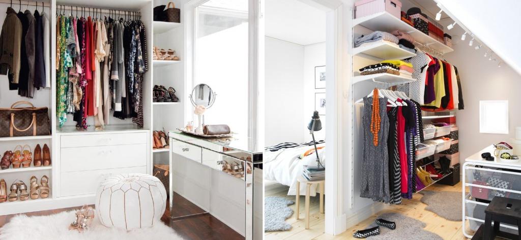 Открытая гардеробная в маленькой спальне