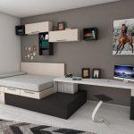 стол и встроенный диван