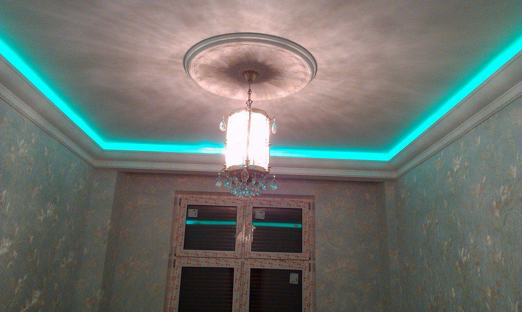 Светодиодная подсветка бетонного потолка
