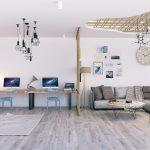 удобный диван и рабочие столы