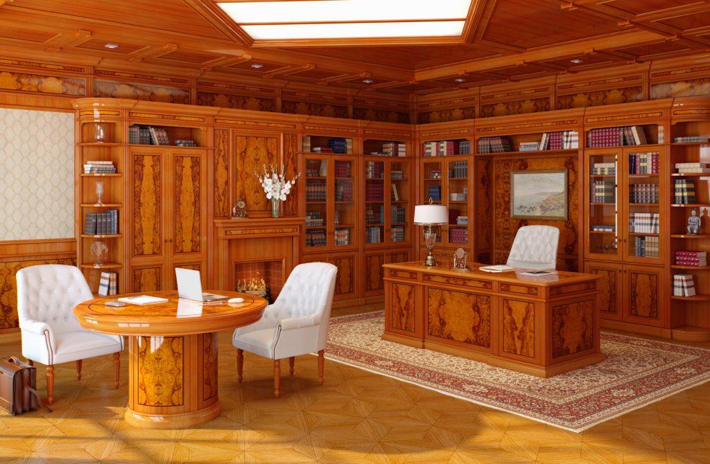 Деревянный стол и белый кресла