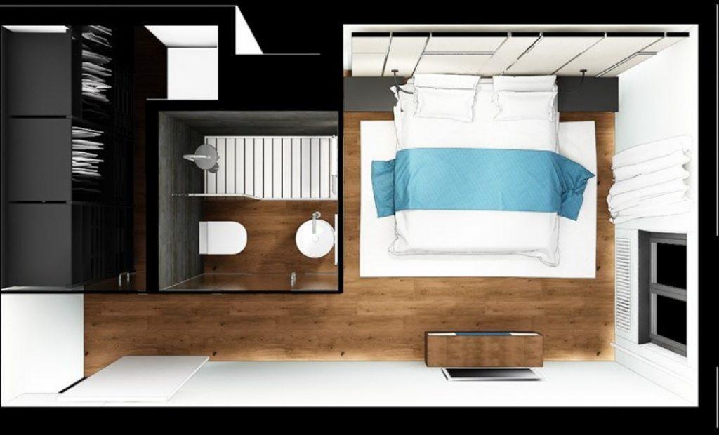 Спальня с ванной и гардеробной