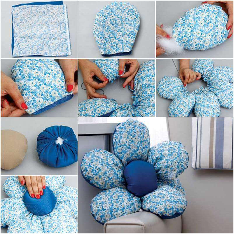 Декоративная подушка в виде цветка своими руками
