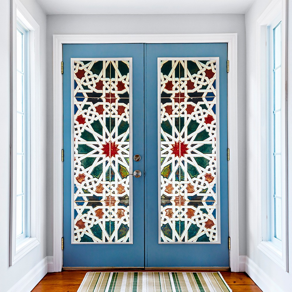 Декор стекла на двери своими руками