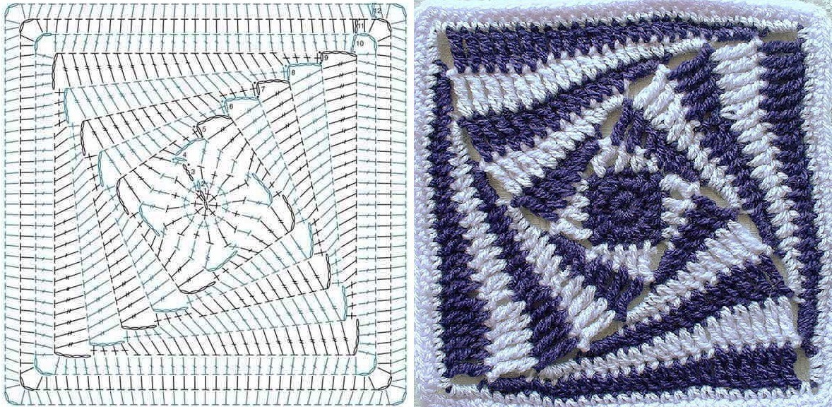 бабушкин квадрат крючком схемы и способы соединения 48 фото