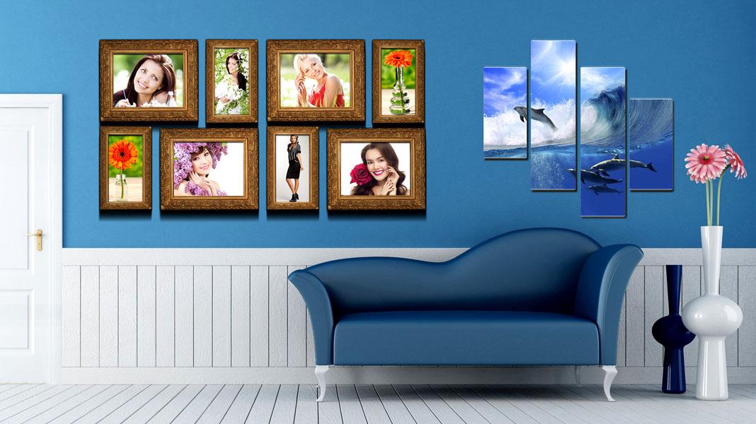 5 оригинальных вариантов оформления фоторамок на стене