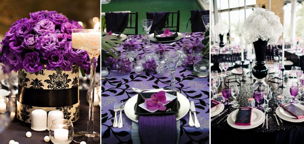 Фиолетово-чёрная сервировка стола