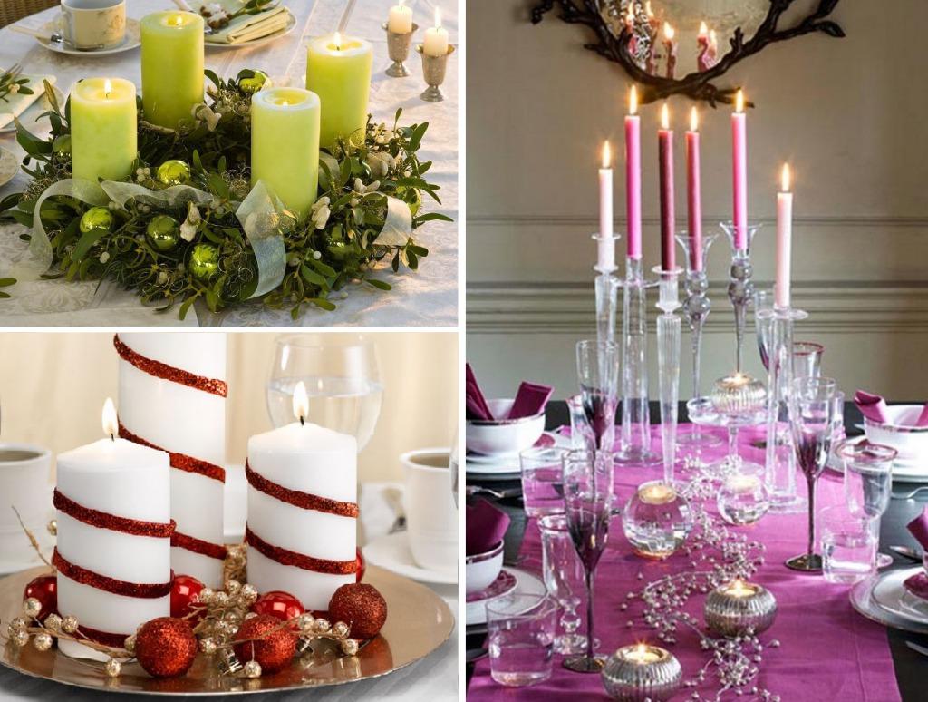 Декор стола свечами