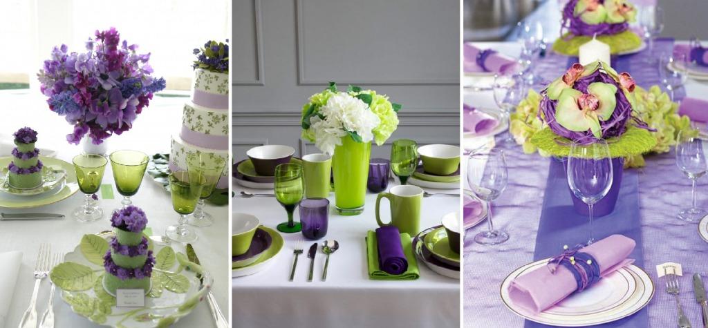 Фиолетовый и зеленый цвета в сервировке стола