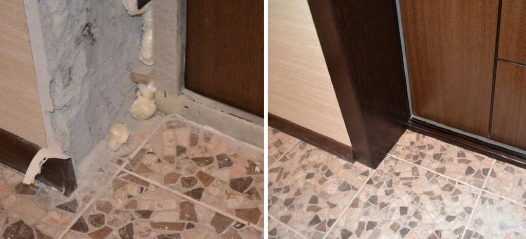 Отделка откоса входной двери внутри квартиры