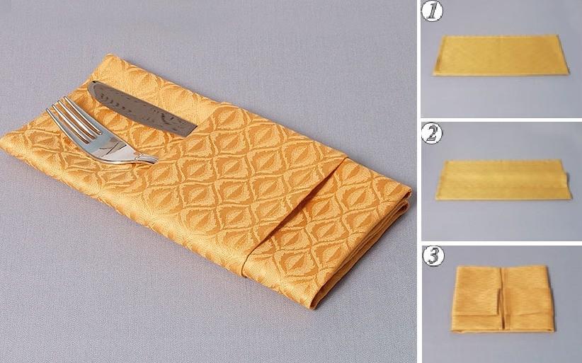 Как сложить салфетки горизонтальное саше