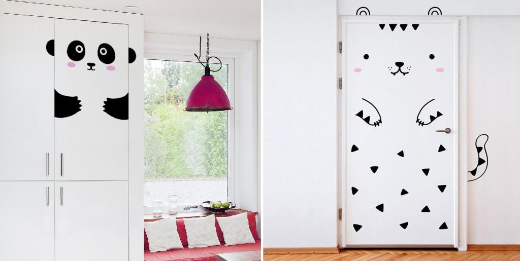 декор двери наклейками