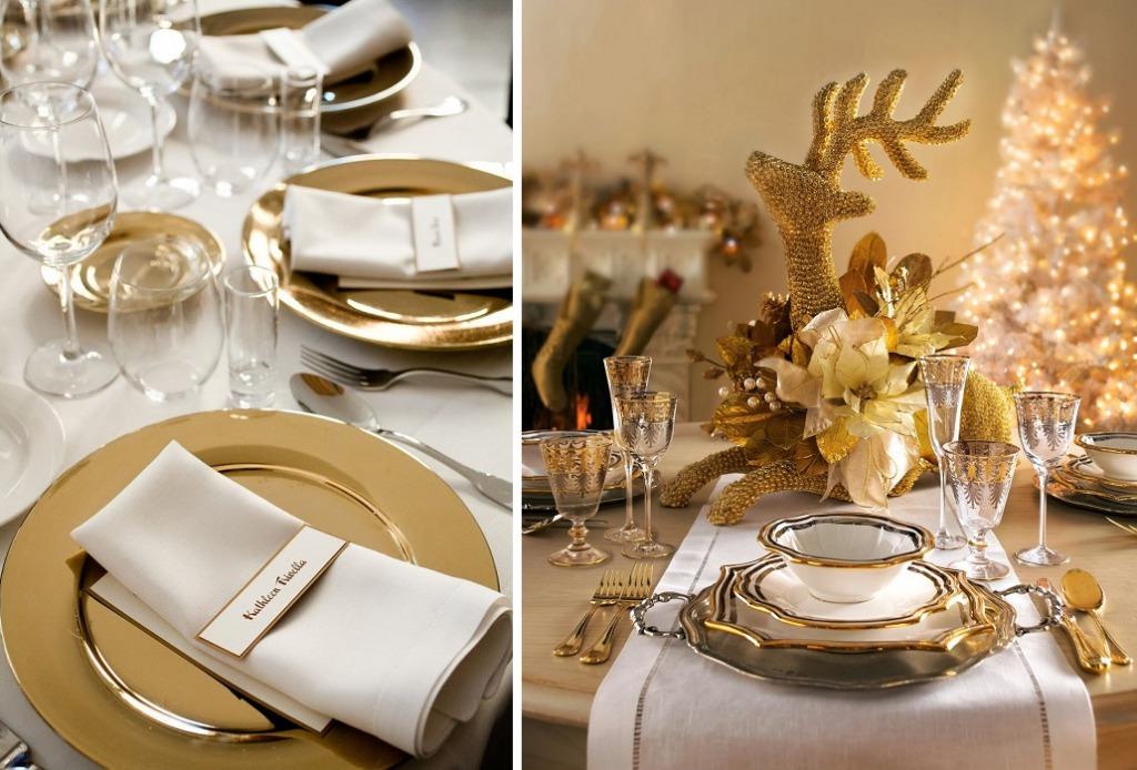 Сервировка стола в золотом цвете