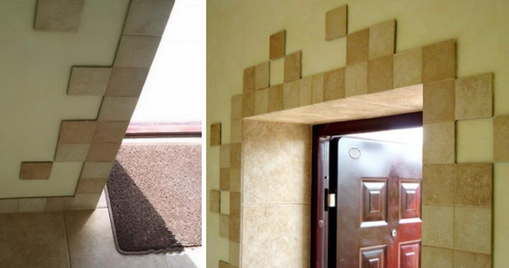 Отделка дверных откосов плиткой мозаикой