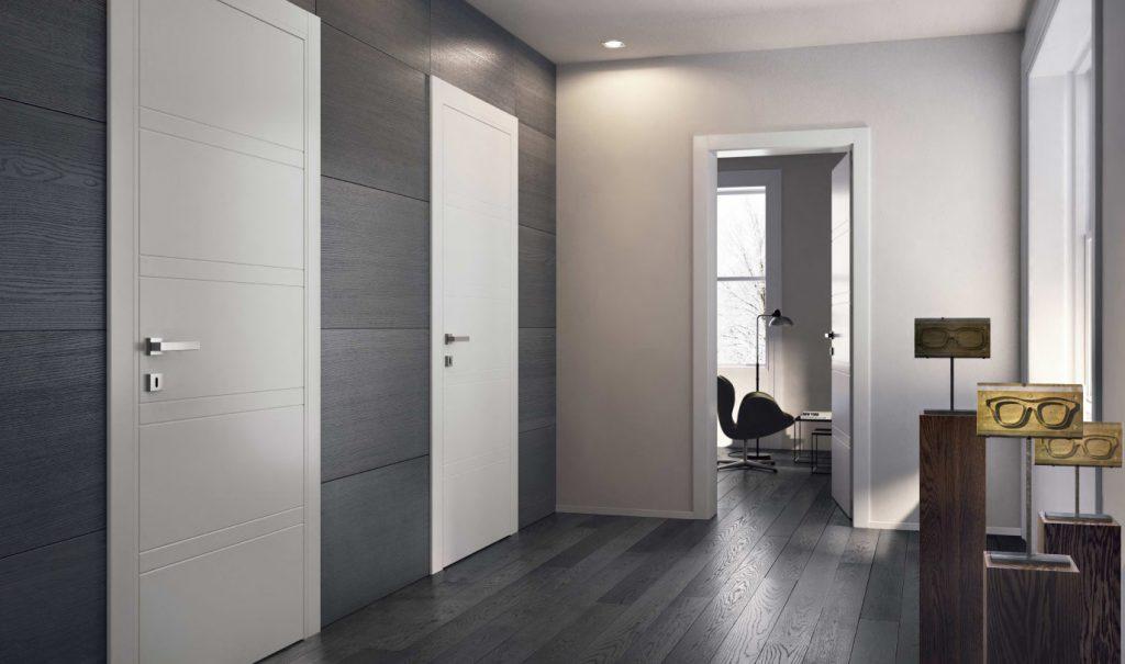 Белые двери и темная отделка