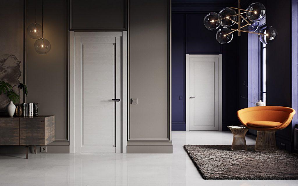 Белые двери и белый пол