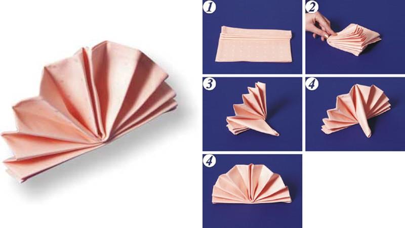 Как сложить салфетку веером