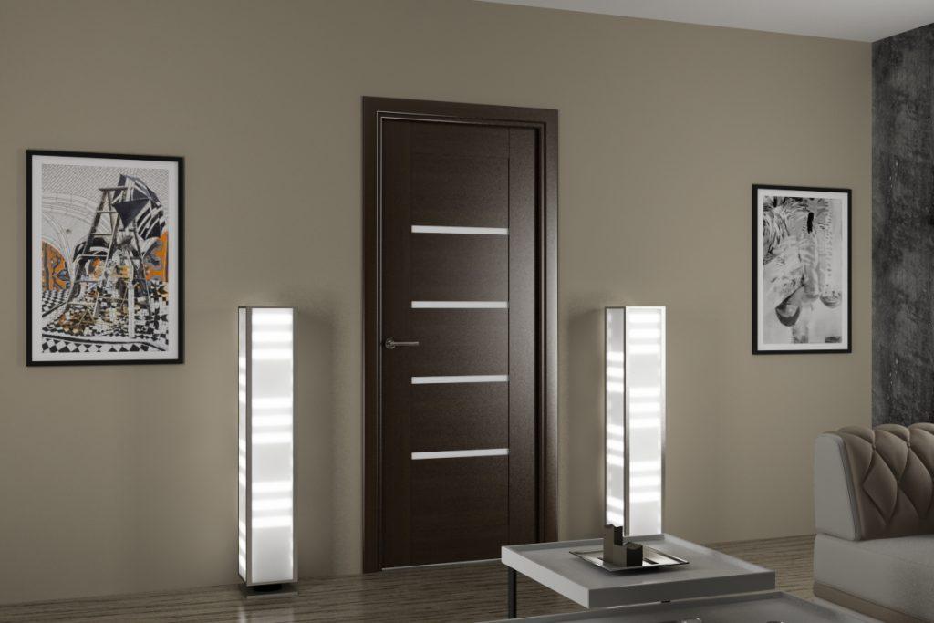 Двери венге и серые обои