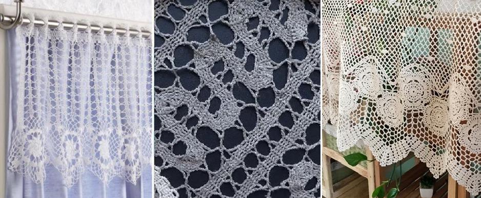 Вязаные шторы в технике брюгге