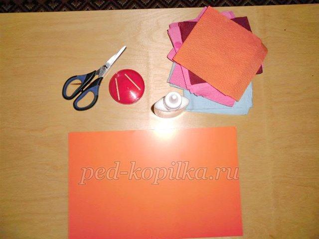 Аппликация ветка рябины из салфеток и из цветной бумаги для детского сада