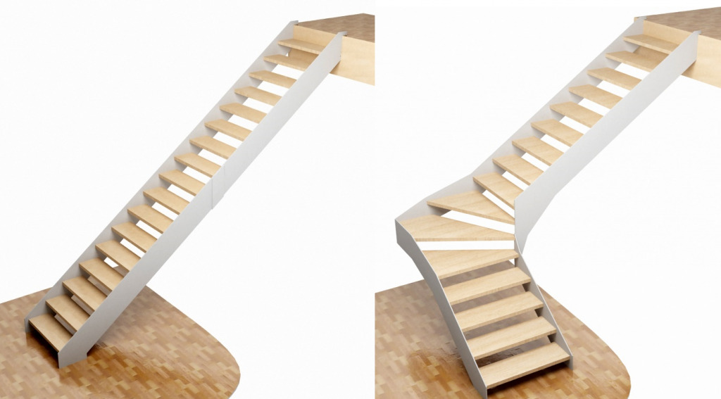 Варианты лестниц на тетивах