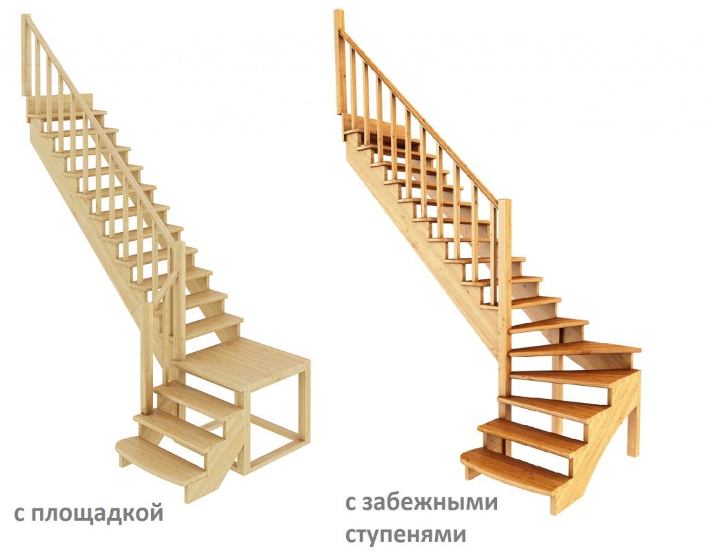 Двухмаршевые лестницы с площадкой и забежными ступенями