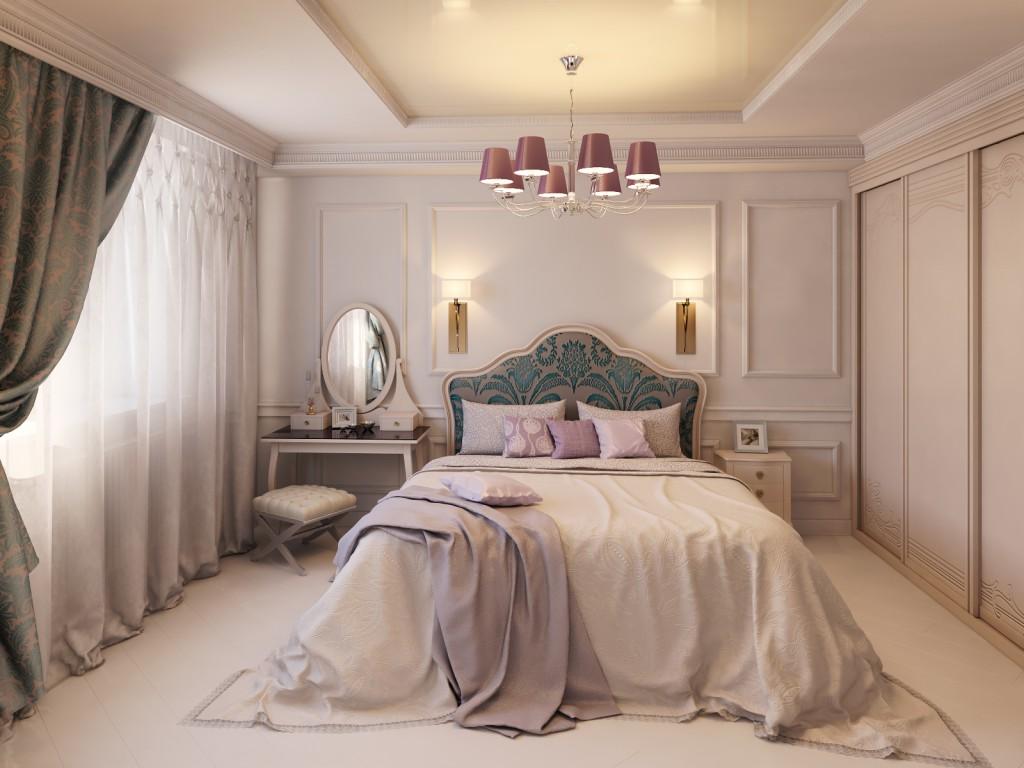 интерьер узкой спальни