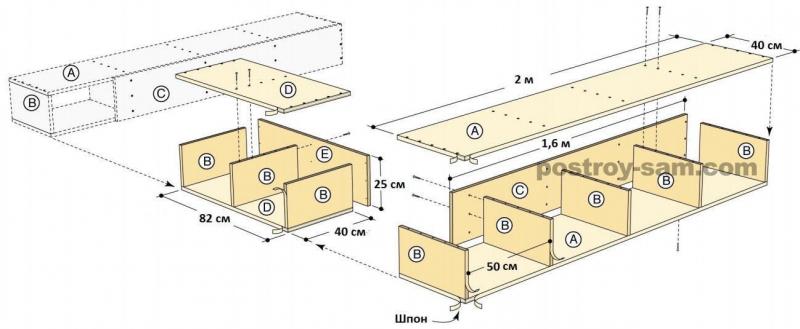 Как сделать кровать из фанеры? Чертеж кровати