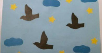 """Аппликация """"Птицы перелетные"""" из бумаги и листьев по шаблонам своими руками"""