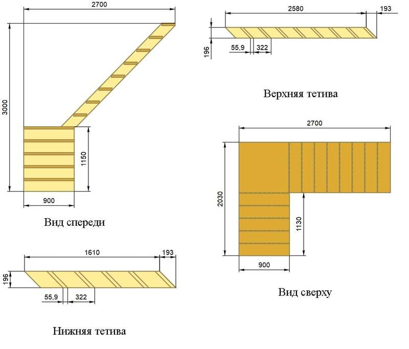 Расчет двухмаршевой лестницы на второй этаж