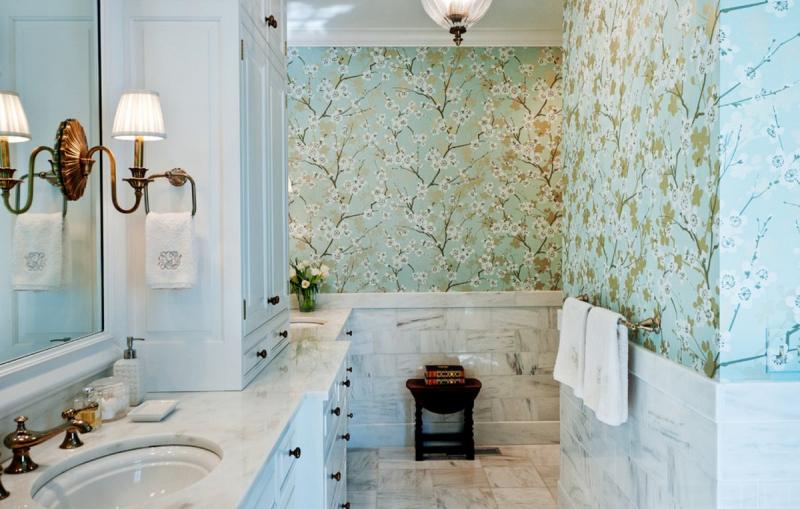 Обои для туалета в квартире: 35 фото интерьера
