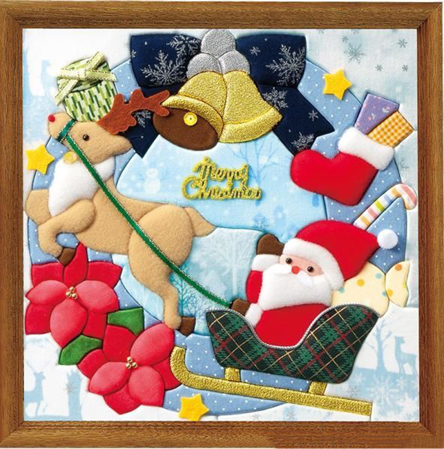 Новогоднее панно с дедом Морозом из ткани
