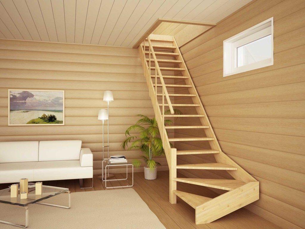 Деревянная лестница на второй этаж в загородном доме