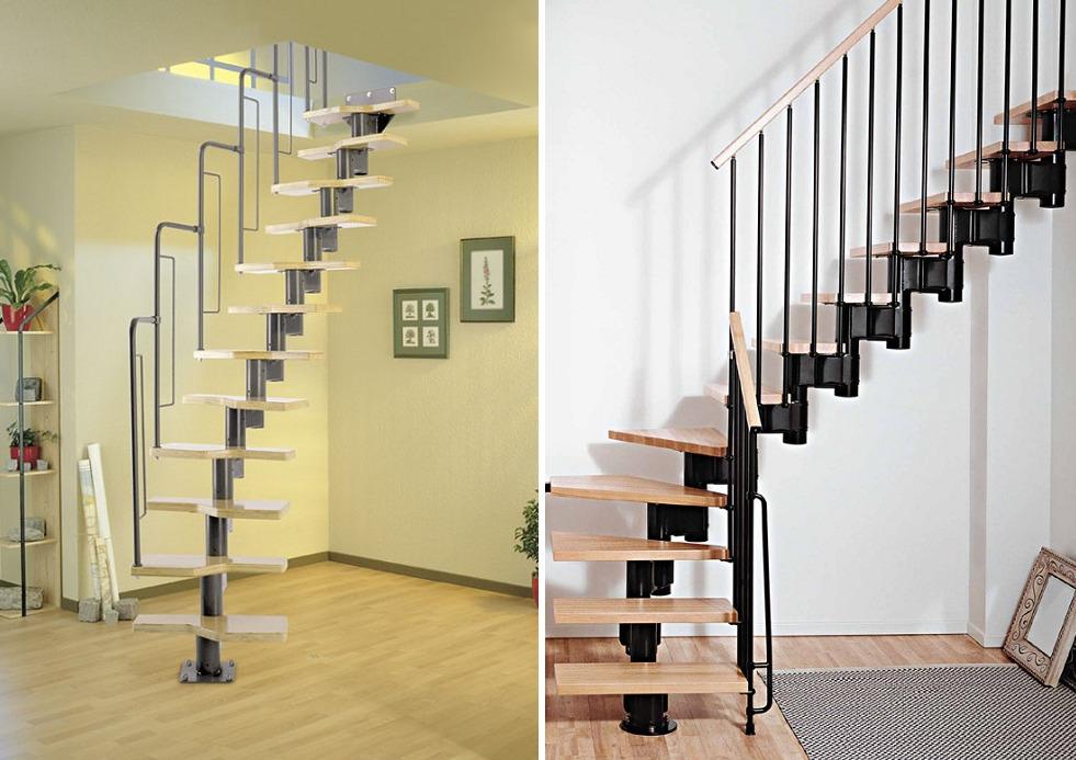 Полувинтовая лестница для маленького проема