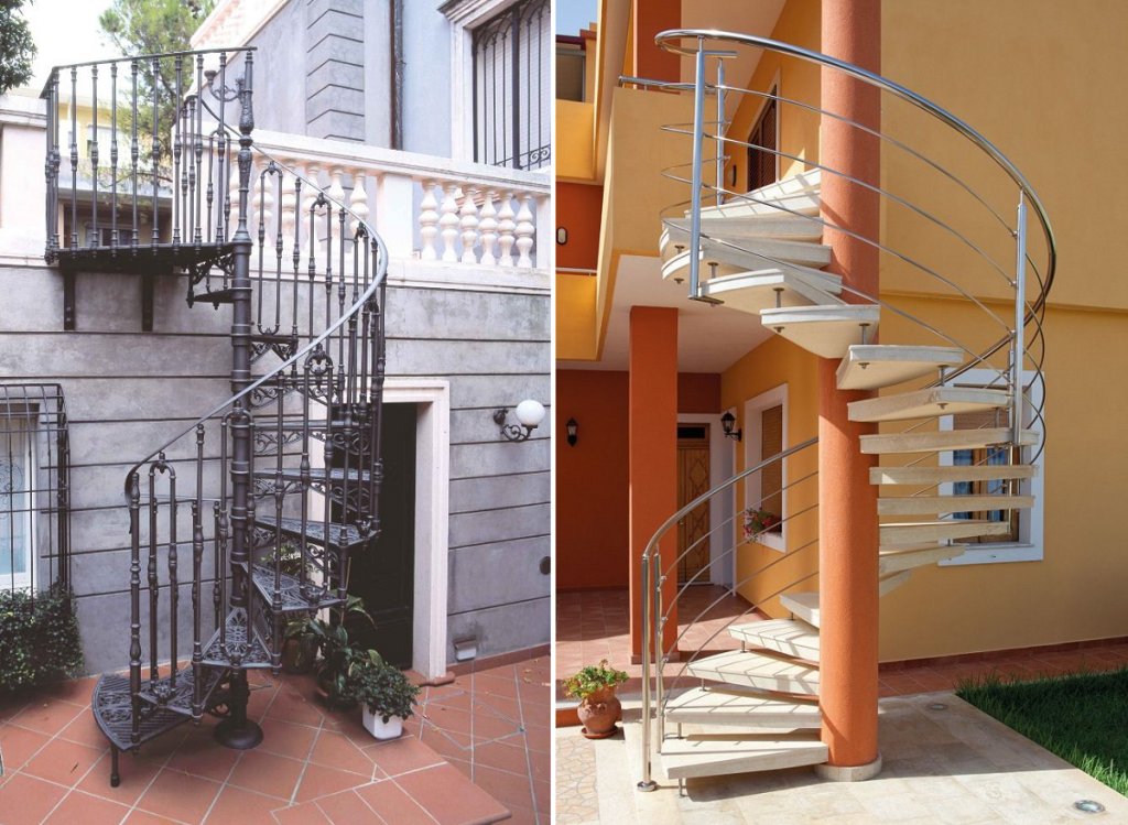 Наружная винтовая лестница на мансарду