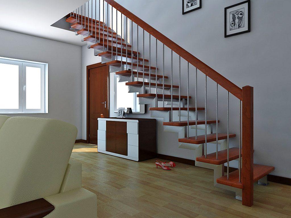 Прямая маршевая лестница на второй этаж